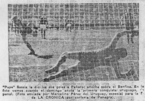 El 'Pepe' Sasía marca de penal en el arco del Benfica para abrir la cuenta en el segundo partido de la final Intercontinental (Foto: diario La Crónica)