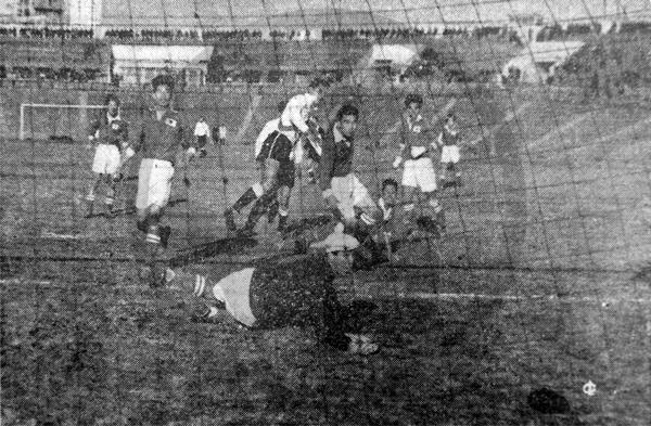 Este fue el único gol del cuadro peruano ante el equipo de Tokio, obra de Enrique García (Recorte: diario La Crónica)