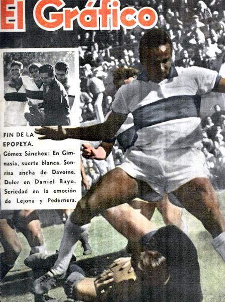 Óscar Gómez Sánchez durante su segunda temporada con Gimnasia, equipo con el que fue protagonista en 1962 (Recorte: revista El Gráfico)