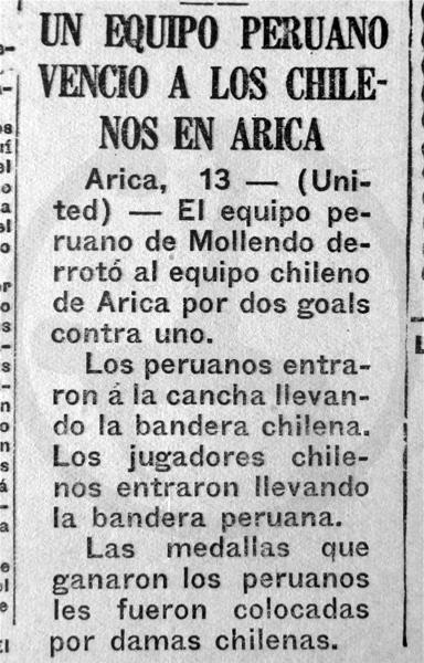 La nota periodística con la noticia del primer partido de un equipo peruano en Arica (Recorte: diario La Crónica)