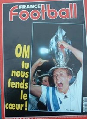 La portada de France Football tras el título continental de los marselleses (Recorte: om4ever.com)
