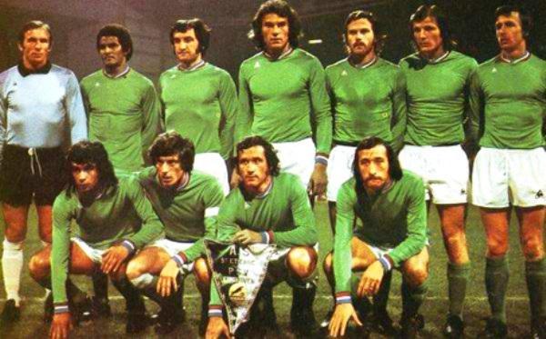 Alineación del Saint Etienne que disputó las semifinales de la Copa de Campeones 1975-1976 ante el PSV. Luego llegarían a la final, siendo derrotados por Bayern Munich (Foto: pari-et-gagne.com)
