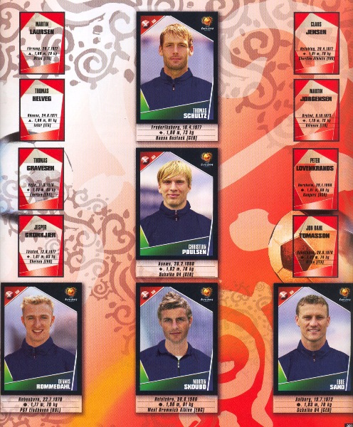 Por problemas de derechos, la selección danesa no apareció con todos los cromos en el álbum (Cromo: Álbum Panini, Euro 2004)