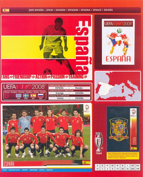 Toda la furia española contenida por años de fracasos encontró desfogue con el título obtenido en Suiza y Austria (Cromo: Álbum Panini, Euro 2008)