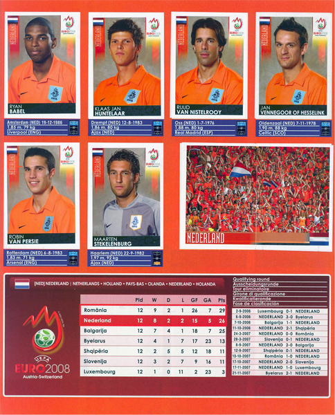 A falta de jugadores bueno es el aliento, al menos esa parece haber sido la lógica de Panini para haber incluido una imagen de los hinchas de Holanda en el álbum (Cromo: Álbum Panini, Euro 2008)
