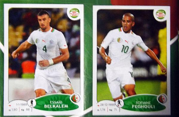 Los jugadores de Argelia no son tan fáciles de conseguir entre los diversos cromos para completar el álbum (Cromo: Editorial Panini)