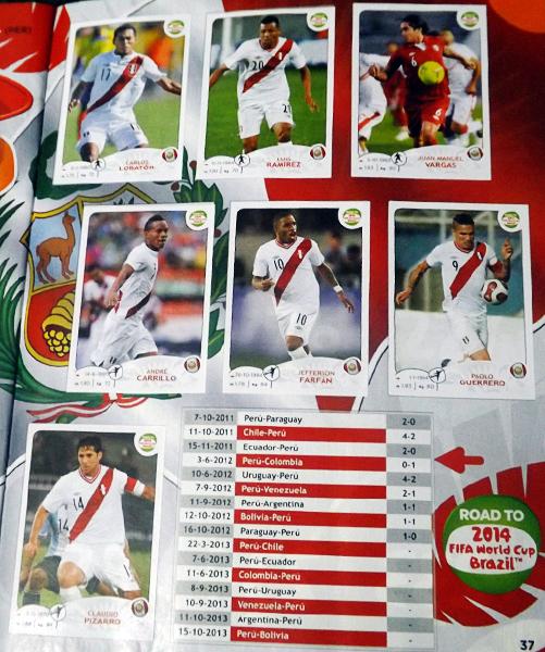 Parte del equipo de Perú que se espera pueda estar presente en el próximo álbum de Brasil 2014 (Cromo: Editorial Panini)