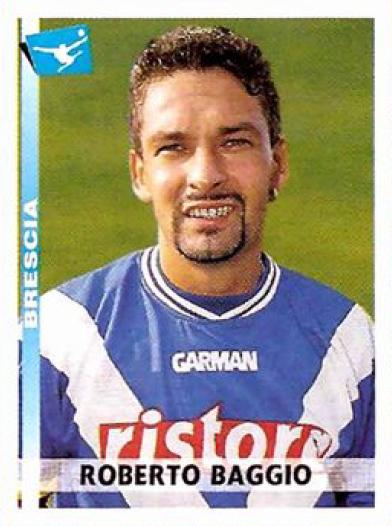El ilustre Roberto Baggio con la camiseta de Brescia, la última de su carrera que empezó a defender precisamente en la temporada 2000-2001 (Cromo: editorial Panini)