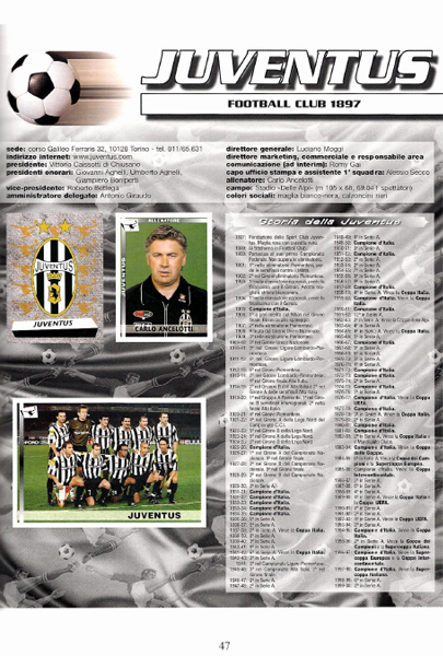 Carlo Ancelotti, actual técnico de Real Madrid, cuando conducía los destinos de la Juventus que en el álbum tiene toda su historia detallada (Cromo: editorial Panini)