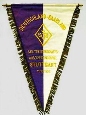 Banderín alusivo al partido Alemania - Sarre, jugado por las Eliminatorias de 1954 (Foto: saar-nostalgie.de)