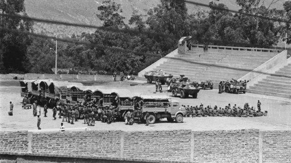 Huanta, 1984: así lucía el estadio Municipal, tomado por fuerzas de la Marina (Foto: imageshack.us)