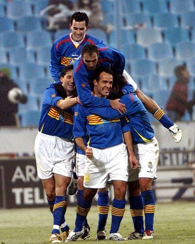 Imagen del último partido que la selección de Aragón disputó, ante Chile, al que venció con gol en el último minuto (Foto: EFE)