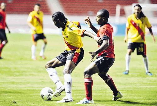 El equipo más poderoso de la liga de Guyana, el Alpha United, en el partido en que fue goleado por el Sport Herediano en la Concachampions 2011/2012 (Foto: aldia.cr)