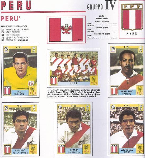 La página 44 del álbum, con los primeros cinco jugadores peruanos: Rubiños, Campos, De La Torre, Chumpitaz y Risco, este último el único que no llegó al Mundial (Recorte: World Cup Panini Collections 1970-1994, Franco Cosimo Panini Editore)