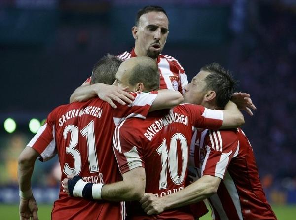 La sociedad bávara en su máxima expresión: Schweinsteiger, Robben y Olic. Sin embargo, estrañarán a su más alto valor, el francés Ribery (Foto: Reuters)