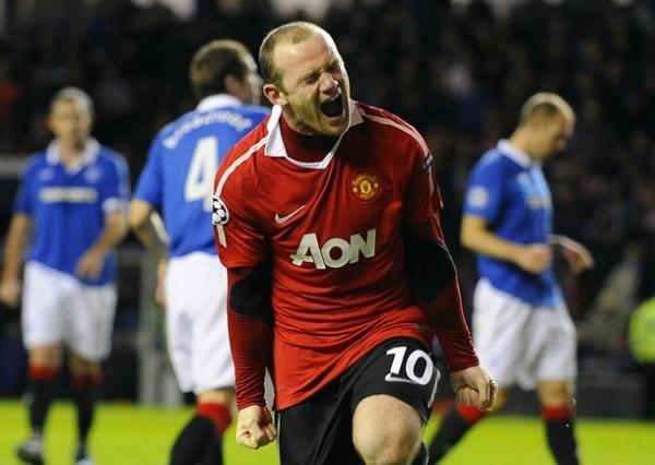 A TODO PULMÓN. Un tanto en las postrimerías de Wayne Rooney bastó para que Manchester United se impusiera en sueño escocés y consolide el primer lugar de su grupo (Foto: Reuters)