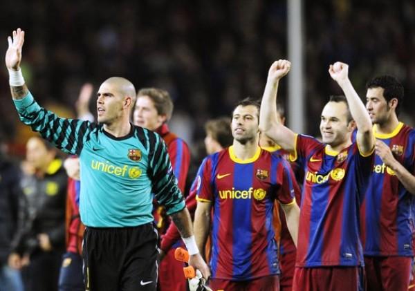 NOS VAMOS A WEMBLEY. Valdéz y compañía no escatimaron energías para festejar su pase a la final de la Champions.  (Foto: AFP)