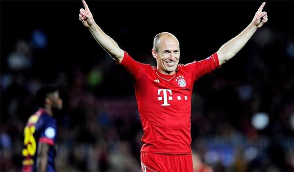 La ilusión azulgrana se apagó casi de inmediato luego que Arjen Robben marcara un gran gol para estirar aún más la diferencia de goles en la llave (Foto: AFP)
