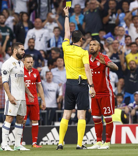 No fue de todo justa la expulsión de Arturo Vidal, sobre todo por la consideración que se tuvo con Casemiro en el Real Madrid - Bayern. (Foto: diario AS)