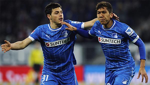 Kevin Volland -a la izquierda- fue de los pocos jugadores que rindieron como se esperaba en el descendido Hoffenheim (Foto: bundesliga.de)