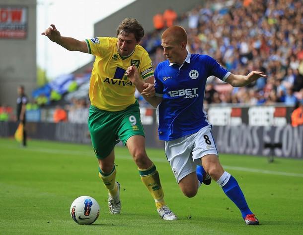 CONSECUENCIA LÓGICA. El 1-1 que obtuvieron Wigan y Norwich dejó más satisfechos a estos últimos. (Foto: AFP)