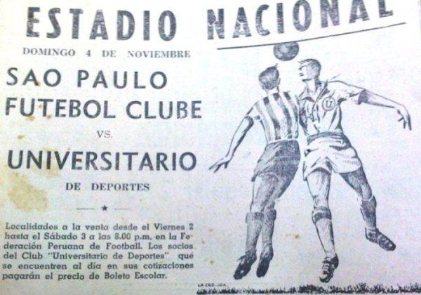Aviso promocional del Universitario - Sao Paulo jugado el 4 de noviembre de 1945 en el viejo estadio Nacional (Recorte: diario La Crónica)