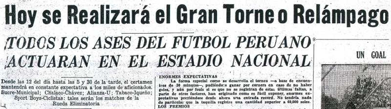 Anuncio del torneo Relámpago del 16 de julio de 1950, con la descripción de sus bizarras reglas (Recorte: diario La Crónica)