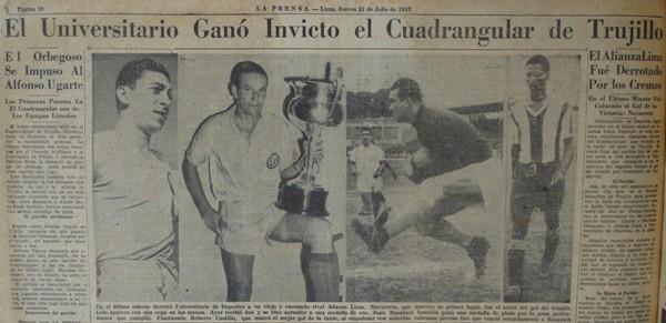 En Trujillo, la 'U' venció 4-3 a Alianza Lima en un cuadrangular amistoso disputado en 1952. Nótese la dificultad para el periodismo de la época por obtener fotos de partidos jugados en el interior para la edición del día siguiente y la utilización, por ello, de material de archivo (Recorte: diario La Prensa, 31/07/52 p. 10)