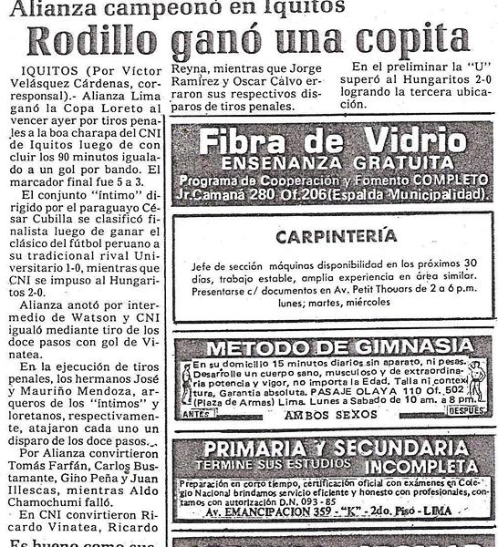 La noticia de un clásico poco conocido, el disputado en el oriente peruano en 1987 (Recorte: diario Ojo)
