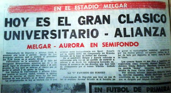 El títular de 1989 anuncia el clásico del fútbol peruano a disputarse en Arequipa (Recorte: Diario Correo)