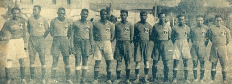 Foto histórica del primer equipo de Municipal en 1935. (Recorte: revista Sport)