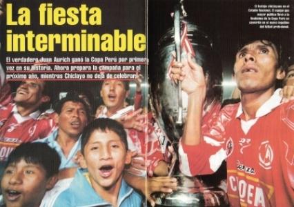 1997: Con un inolvidable gol de Johnny Mujica, Juan Aurich vence 1-0 a UPAO en Lima y consigue la primera Copa Perú de su historia (Recorte: Once, Nº 34 pp. 34-35)