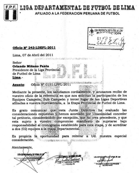 Resolución que expidio la Liga Departamental de Lima, en la cual se ratifica la presencia de tres clasificados por distrito en el Interligas 2011 (Foto: Liga Provincial de Fútbol de Lima)