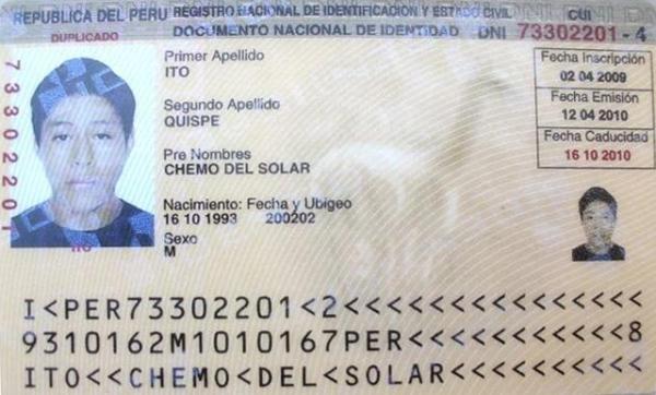 Documento de Identidad de Chemo del Solar Ito. Aun es menor de edad (Foto: Juan Jesús Llerena)