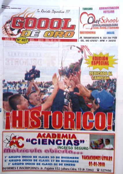 Edición N°407 que pasó a la historia por destacar el título de Unión Comercio en la Copa Perú y el ascenso a Primera División (Recorte: revista Goool de Oro)