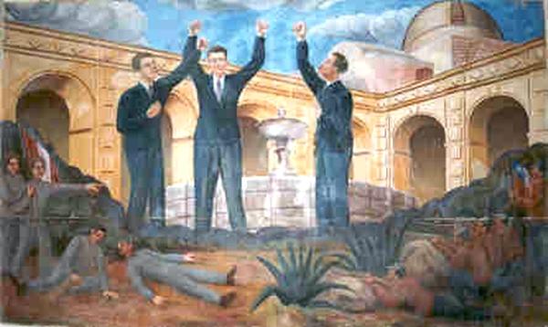 Tres valerosos ex alumnos del colegio San Ramón, Gregorio Pita, Jose Manuel Quiroz y Enrique Vilanueva, se convirtieron en héroes tras la Batalla de San Pablo. (Foto: Panorama Cajamarquino)