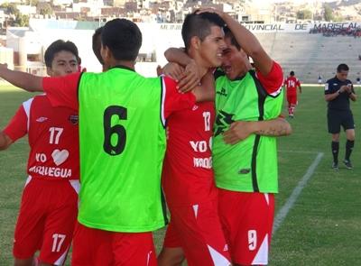 Como ante Binacional, Gian Carlo Franco volvió a ser providencial al marcar el 2-1 con que se impuso San Simón a Saetas de Oro (Foto: Juan Jesús Llerena / DeChalaca.com)