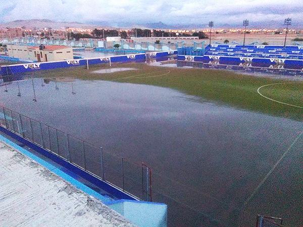 El César Cueto Villa de Nuevo Chimbote quedó completamente inundado. (Foto: Liga Distrital de Nuevo Chimbote)
