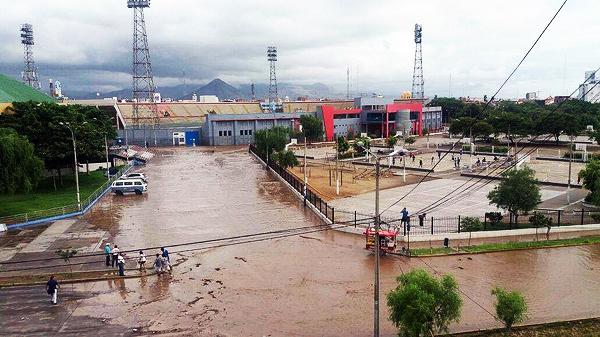 El estadio Mansiche luego del desborde. (Foto: diario Correo de Trujillo)