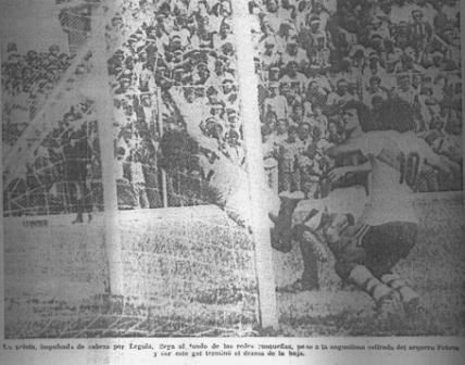 Germán Leguía anota el gol que mandó a Cienciano a la Copa Perú (Recorte: Ojo, 19/12/77 p. 21)
