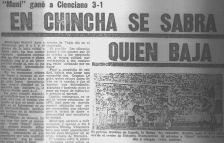 El duelo en Chincha concertó gran interés de la afición y la prensa (Recorte: Ojo, 17/11/77 p. 32)
