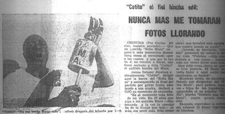 El recordado 'Cotito', hincha fiel si los ha tenido el cuadro edil (Recorte: La Crónica)