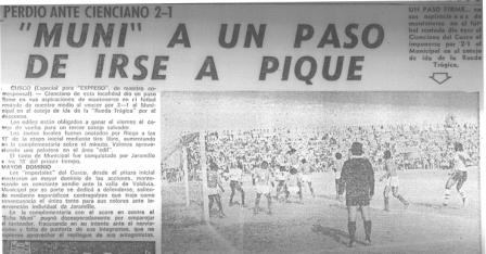 La derrota en el partido de ida, jugado en Cusco, ocasionó que muchos desconfiaran de la posibilidad que Municipal se salvara (Recorte: Expreso, 12/12/77 p. 22)