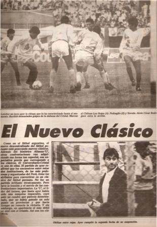 Ya desde 1992, el choque entre celestes y cremas recibe el rótulo de clásico (Recorte: diario El Comercio, suplemento Deporte Total, 29/06/92 p. 9)