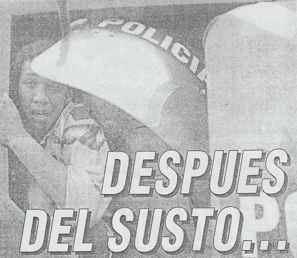 Tras el término del partido, una serie de actos vandálicos se suscitaron en los exteriores del Telmo Carbajo. Por ello, Cristal tuvo que salir resguardado del estadio (Recorte: diario El Bocón)