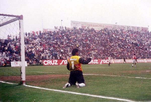 Ante Universitario en el Lolo Fernández en el arco de Aurich/Cañaña, en uno de los dos partidos que atajó por el equipo chiclayano. (Foto: Facebook)