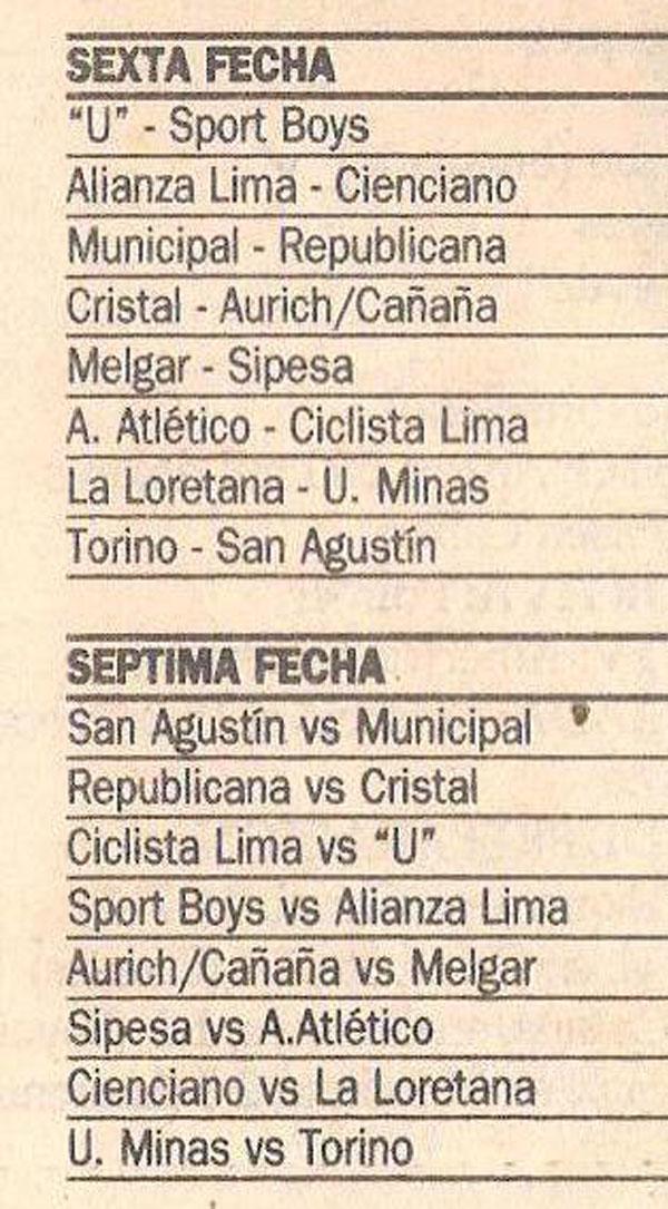 En el fixture del Descentralizado 1996: Repúblicana fue local en la primera rueda. Por tanto, en la fecha 22 la localía le correspondió a Sporting Cristal (Recorte: diario El Comercio / suplemento Deporte Total)