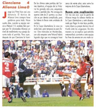Abril de 1998: Cienciano golea a Alianza 4-0 en el Cusco, en un partido al que los íntimos acudieron luego de haber obtenido un importante triunfo a media semana, como esta vez (Recorte: Don Balón Perú, Nº 6 p. 6)