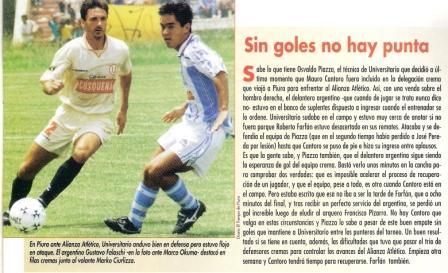 Abril de 1998: Gustavo Falaschi y Marco Okuma disputan un balón durante el primero de los varios 0-0 registrados en la historia entre Alianza Atlético y la 'U' en Sullana (Recorte: Don Balón Perú, Nº 4 p. 7)