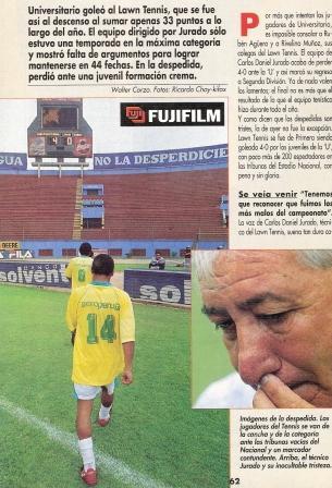 Diciembre de 1998: La 'U' manda al descenso al Lawn Tennis -que jugó su último partido con camiseta amarilla- dirigido por Carlos Daniel Jurado al golearlo 4-0 en el estadio Nacional (Recorte: Don Balón Perú, Nº 39 p. 62)